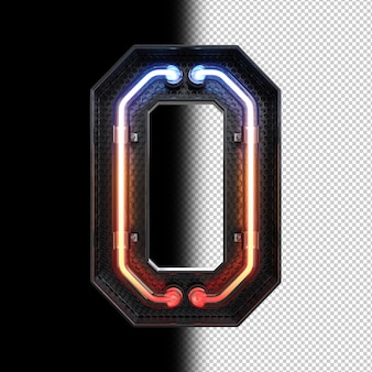 Número 0 feito de luz neon