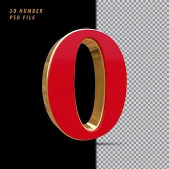 Número 0 vermelho com renderização em 3d estilo dourado