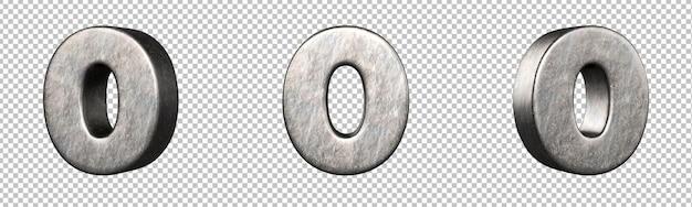 Número 0 (zero) de uma coleção de números de ferro riscado. isolado. renderização 3d