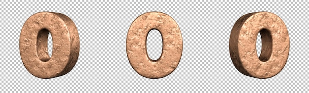 Número 0 (zero) do conjunto de coleta de números de cobre. isolado. renderização 3d