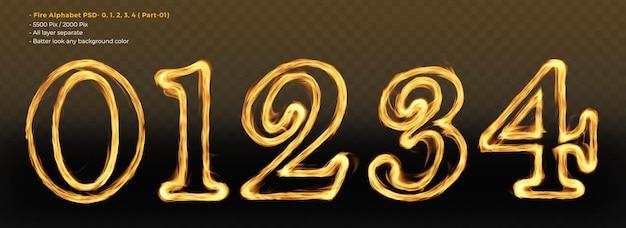 Número 01234 disparar efeitos de texto do alfabeto