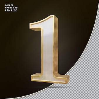 Número 1 3d luxo dourado