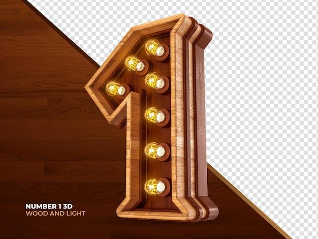 Número 1 3d render madeira com luzes realistas