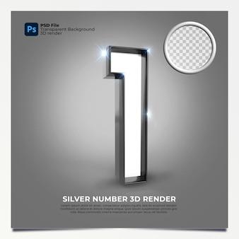 Número 1 3d render silver estilo com elementos