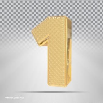 Número 1 com estilo 3d dourado