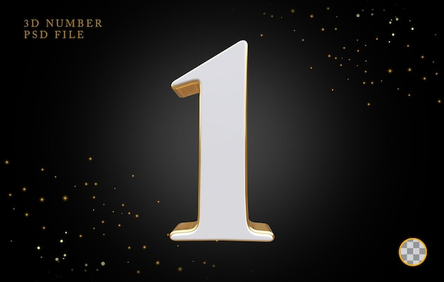 Número 1 com renderização 3d em estilo dourado
