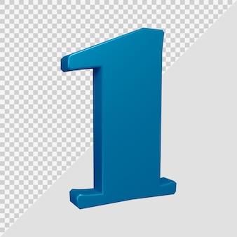 Número 1 em renderização 3d
