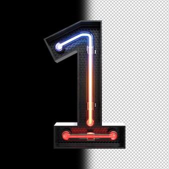 Número 1 feito de luz neon