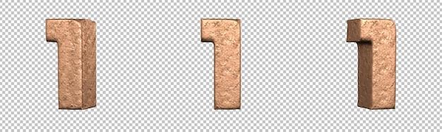 Número 1 (um) do conjunto de coleta de números de cobre. isolado. renderização 3d