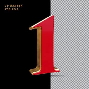 Número 1 vermelho com renderização 3d em estilo dourado