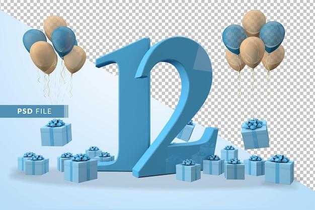 Número 12, caixa de presente azul para festa de aniversário balões amarelos e azuis