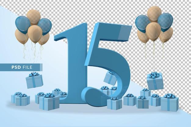 Número 15, caixa de presente azul para festa de aniversário balões amarelos e azuis