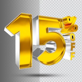 Número 15 do luxo dourado 3d