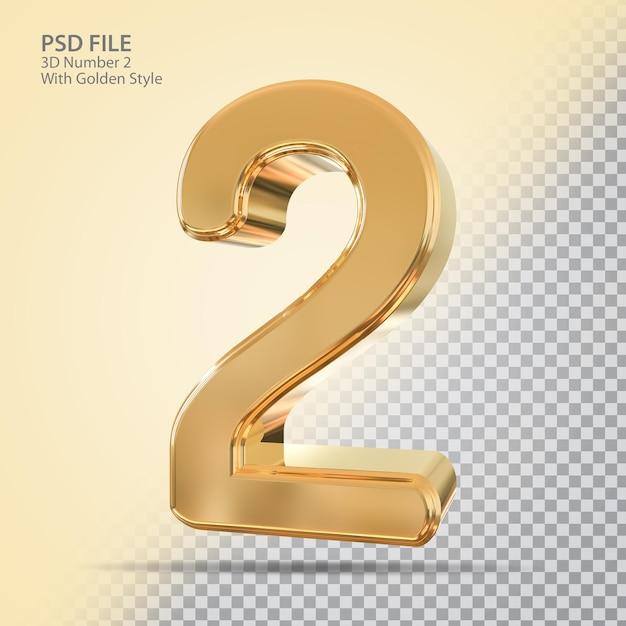 Número 2 3d com estilo dourado