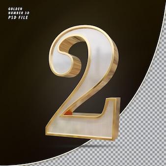 Número 2 3d luxo dourado