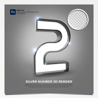 Número 2 3d render silver estilo com elementos