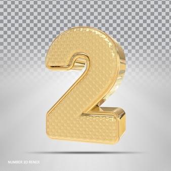 Número 2 com estilo 3d dourado