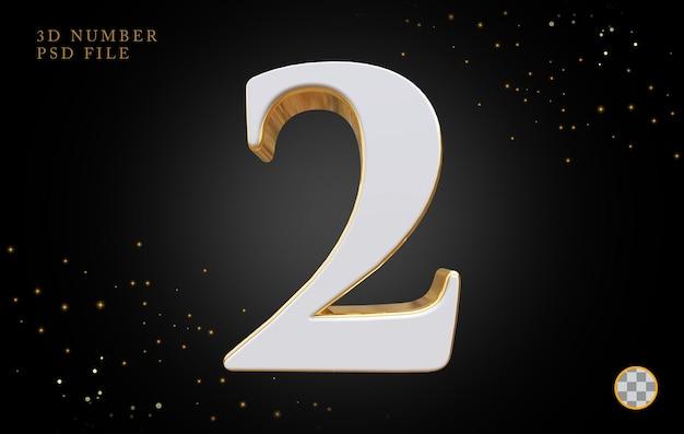 Número 2 com renderização 3d em estilo dourado
