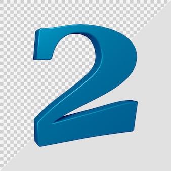 Número 2 em renderização 3d