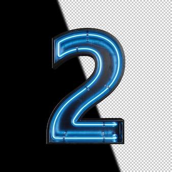 Número 2 feito de luz neon