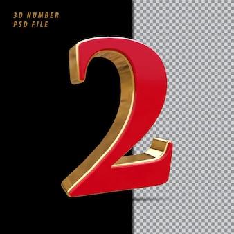 Número 2 vermelho com renderização em 3d estilo dourado