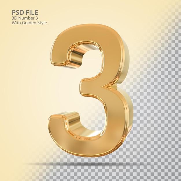 Número 3 3d com estilo dourado