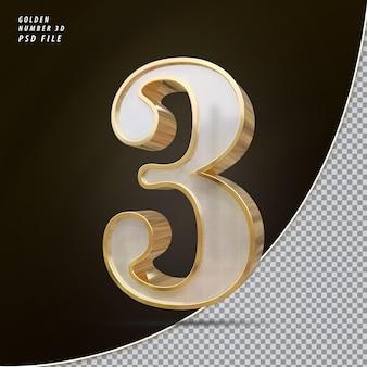 Número 3 3d luxo dourado