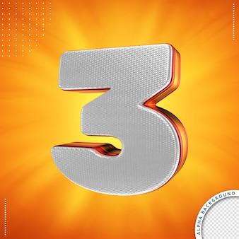 Número 3 3d render isolado isolado