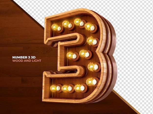 Número 3 3d render madeira com luzes realistas