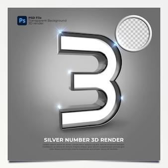 Número 3 3d render silver estilo com elementos