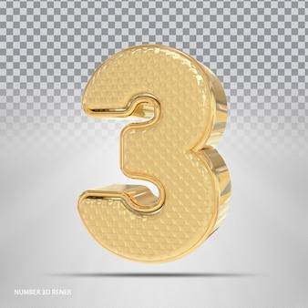 Número 3 com estilo 3d dourado