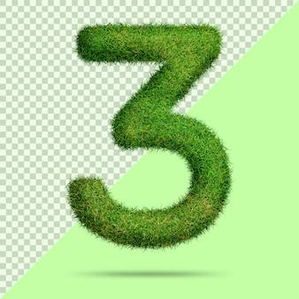 Número 3 com grama 3d realista