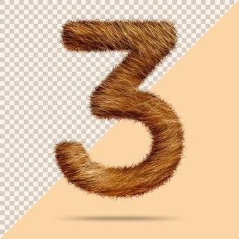 Número 3 com pele 3d realista