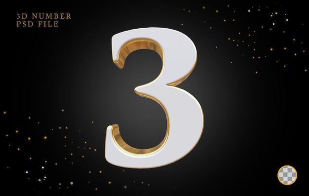 Número 3 com renderização 3d estilo dourado