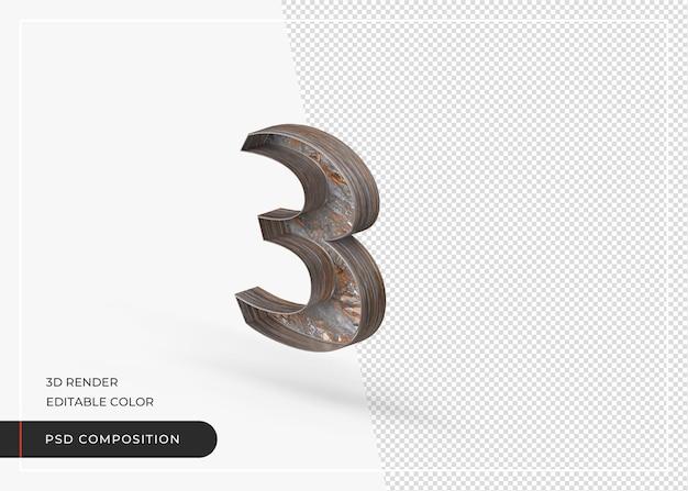 Número 3 em inglês isolado feito de casca de árvore em renderização 3d