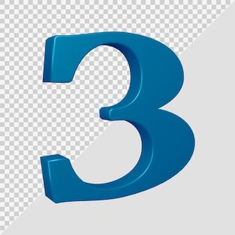 Número 3 em renderização 3d