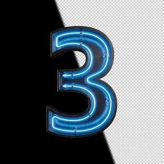 Número 3 feito de luz neon