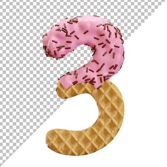 Número 3 feito de waffle de sorvete com granulado de chocolate em estilo 3d