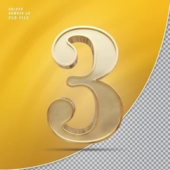 Número 3 ouro