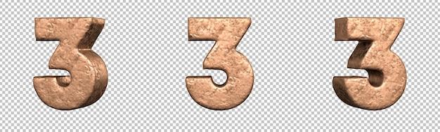 Número 3 (três) do conjunto de coleta de números de cobre. isolado. renderização 3d