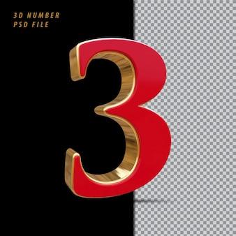 Número 3 vermelho com renderização em 3d estilo dourado