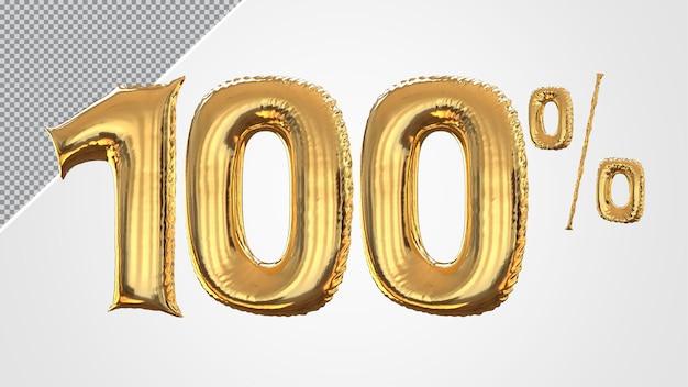 Número 3d balão de 100 por cento dourado