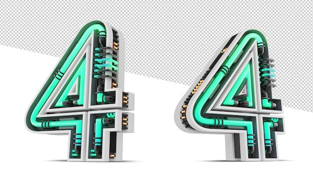 Número 3d com efeito de luz neon verde