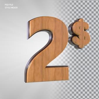 Número 3d de 2 dólares com estilo de madeira