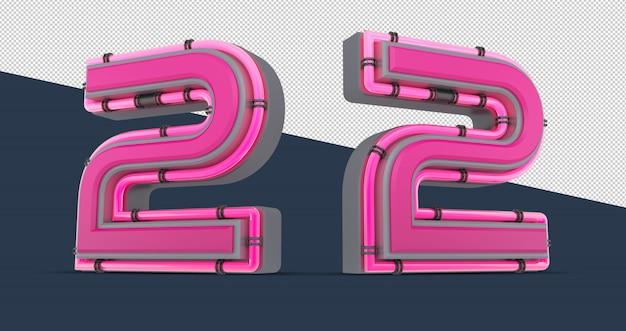 Número 3d rosa com luz neon