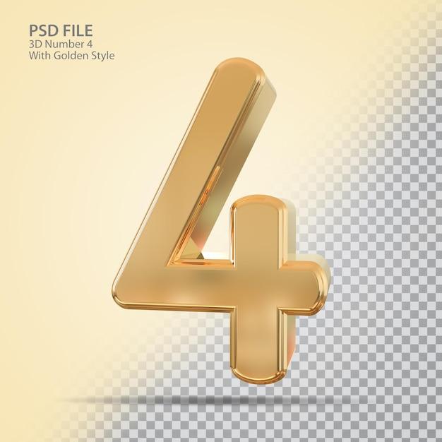 Número 4 3d com estilo dourado