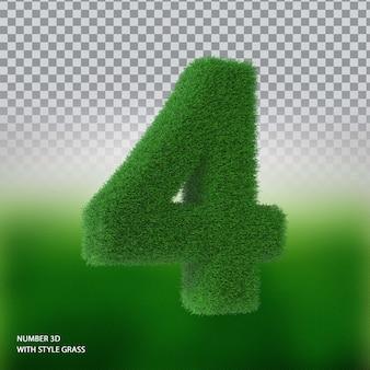Número 4 3d com grama styel