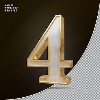 Número 4 3d luxo dourado