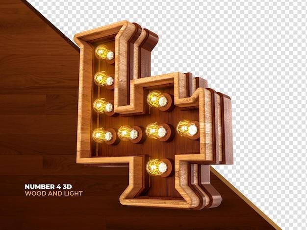 Número 4 3d render madeira com luzes realistas