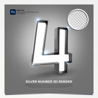 Número 4 3d render silver estilo com elementos